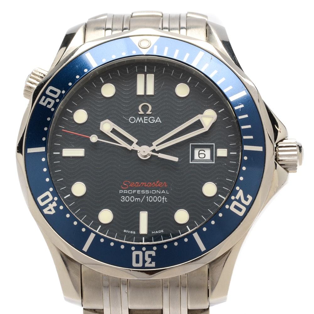 "Omega Seamaster Professional Full Size Blue ""James Bond"" Wristwatch"