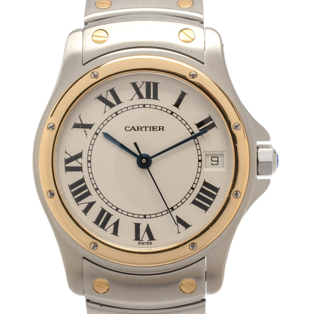 "Cartier ""Santos Ronde"" 18K Yellow Gold and Stainless Analog Wristwatch"