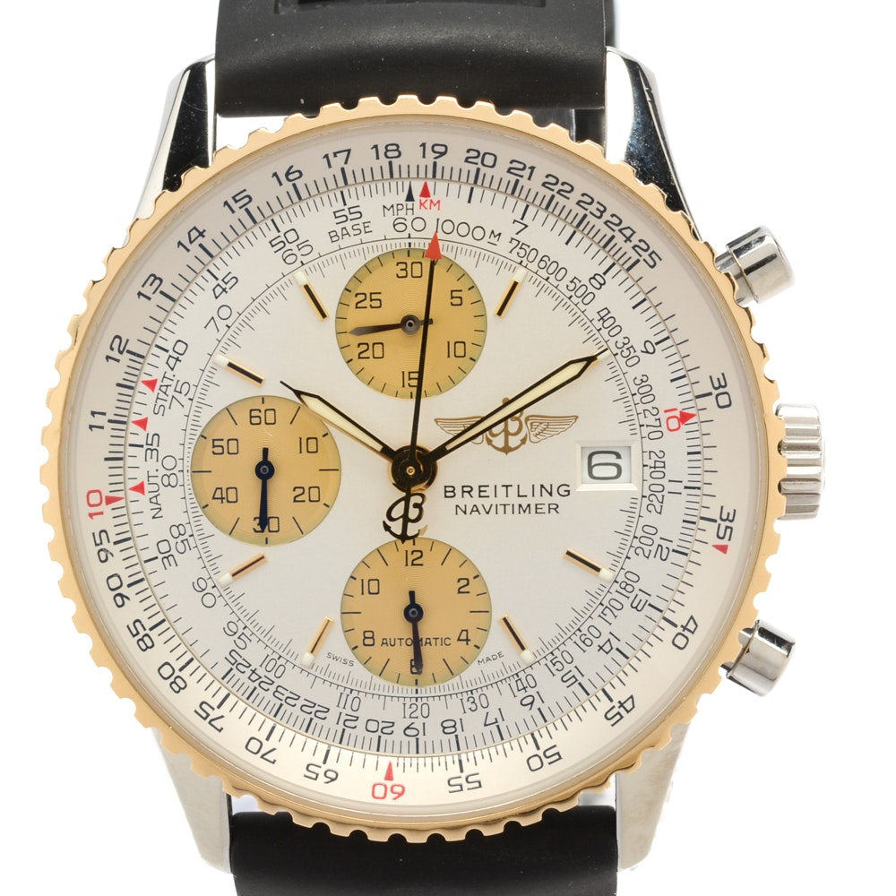 Breitling Navitimer 18K Yellow Gold Stainless Steel Automatic Chronograph