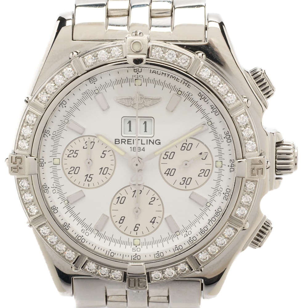 "Breitling ""Crosswind Special"" Big Date Diamond Bezel Automatic Wristwatch"