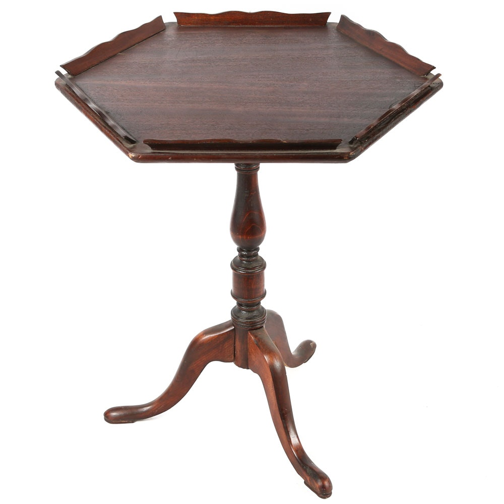 Vintage Queen Anne Style Pedestal Side Table