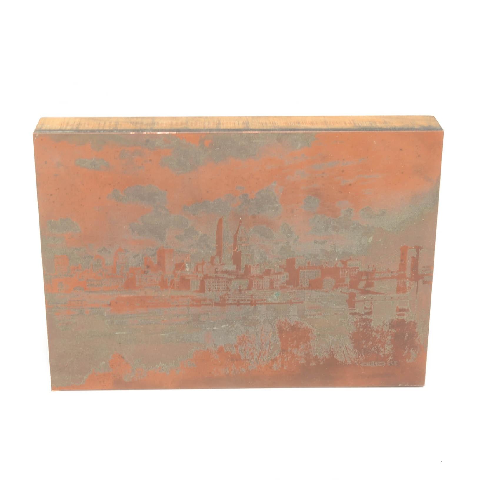 Printers Wood Block of Cincinnati Skyline