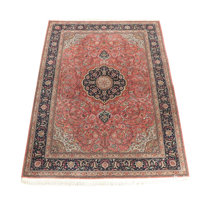 Finely Hand-Knotted Persian Tabriz Style Wool Area Rug