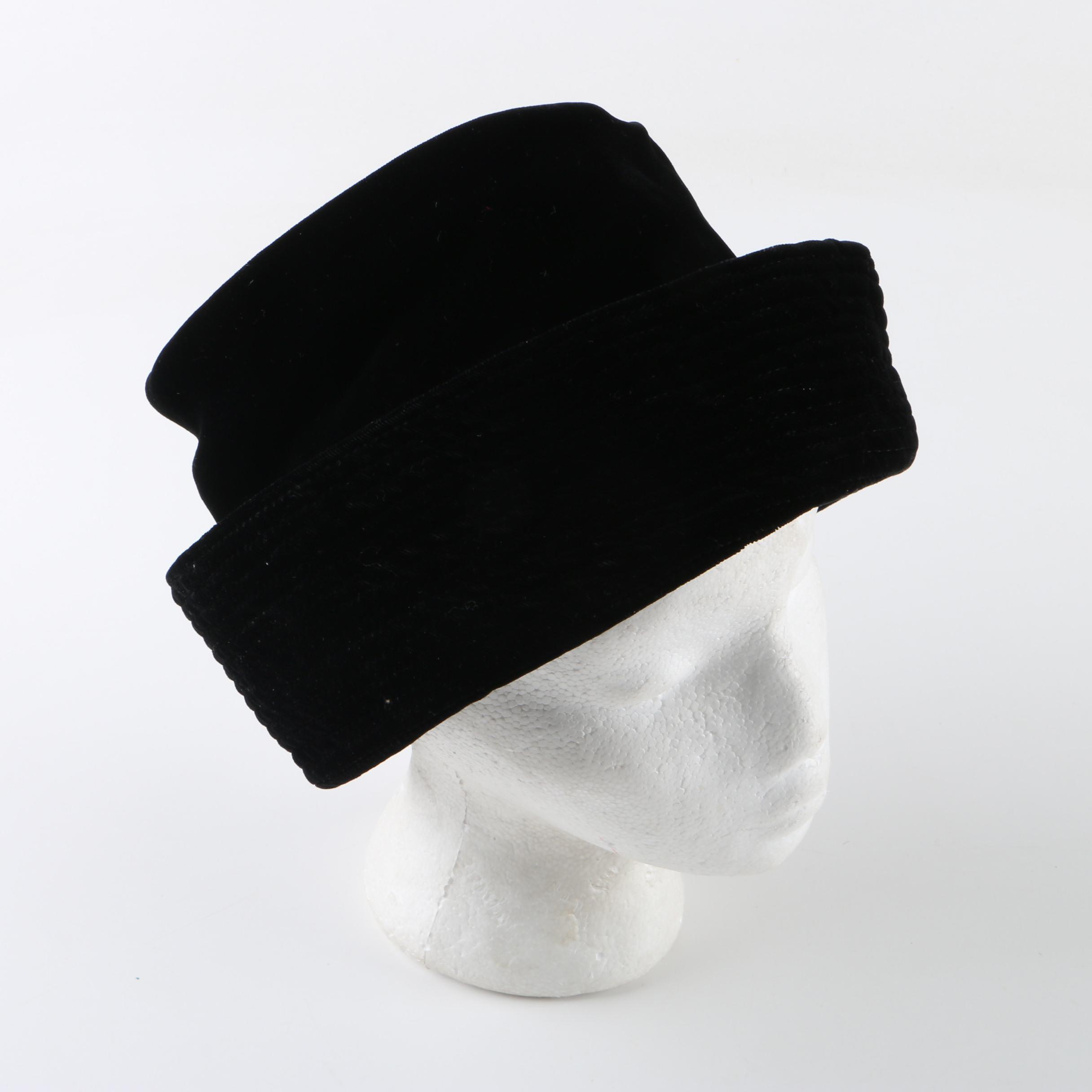 Women's Vintage Marshall Field & Company Black Velvet Breton Hat