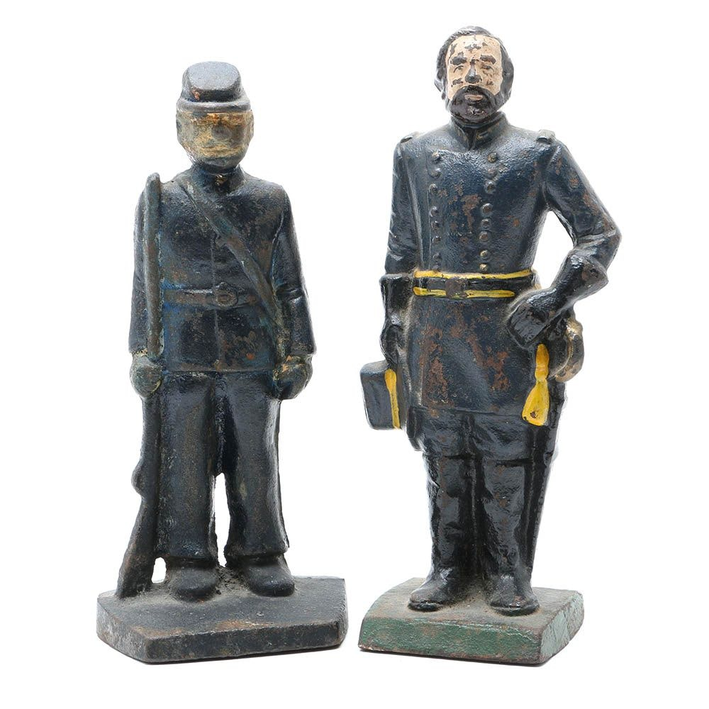 Two Cast-Iron Union Soldier Doorstops