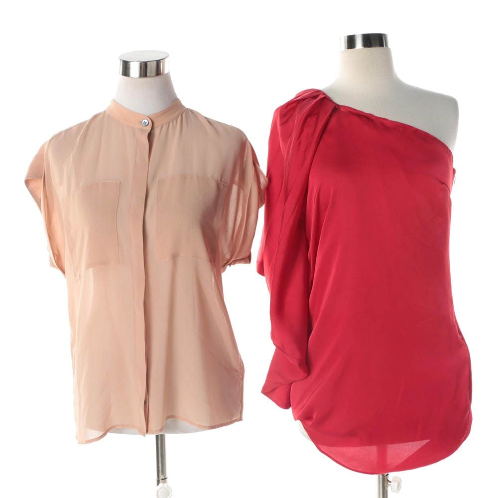 Women's Ark & Co. Red One-Shoulder Dress and Cabi Beige Blouse