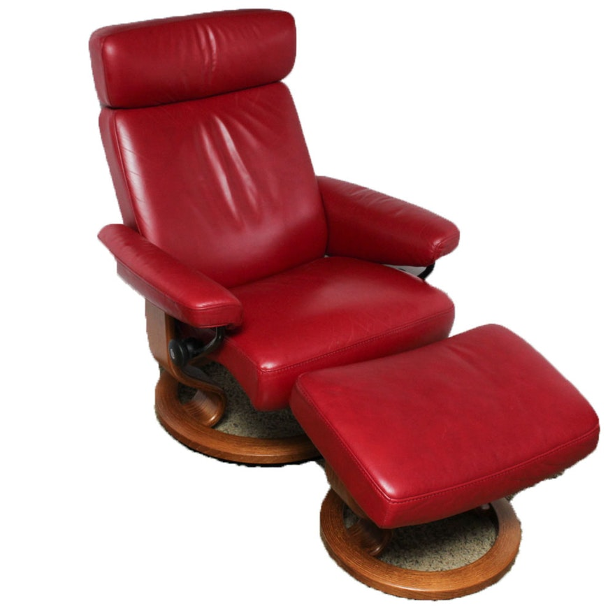 ekornes stressless leather recliner and ottoman ebth