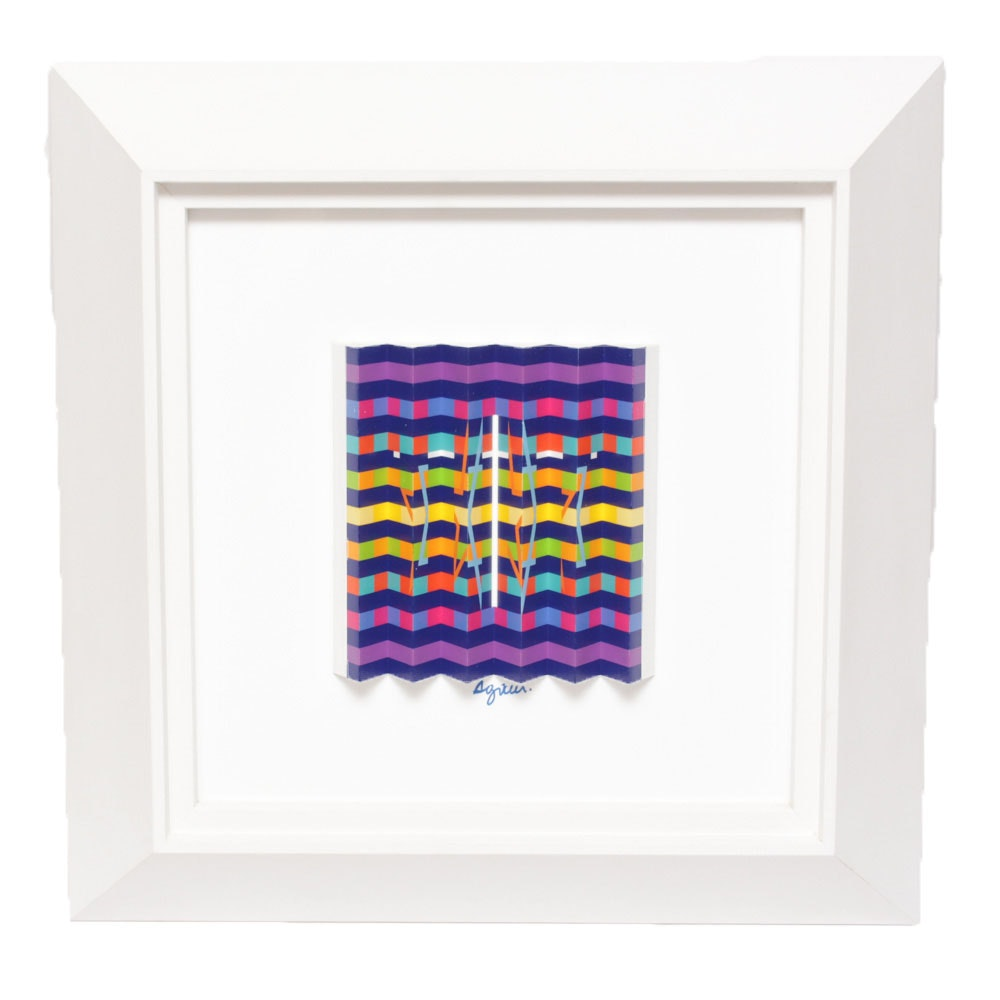 Signed Yaacov Agam Limited Edition Polymorph and Book