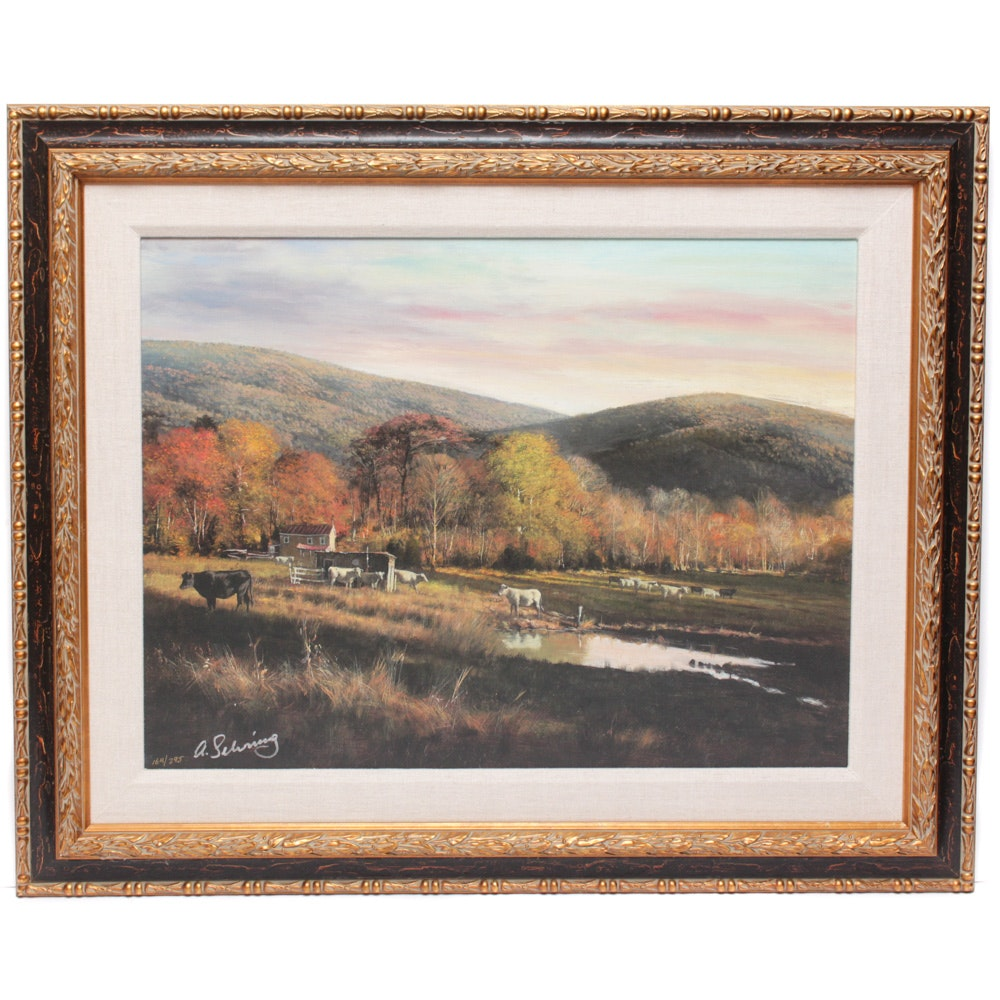 Signed Limited Edition Adolf Sehring Offset Lithograph on Canvas