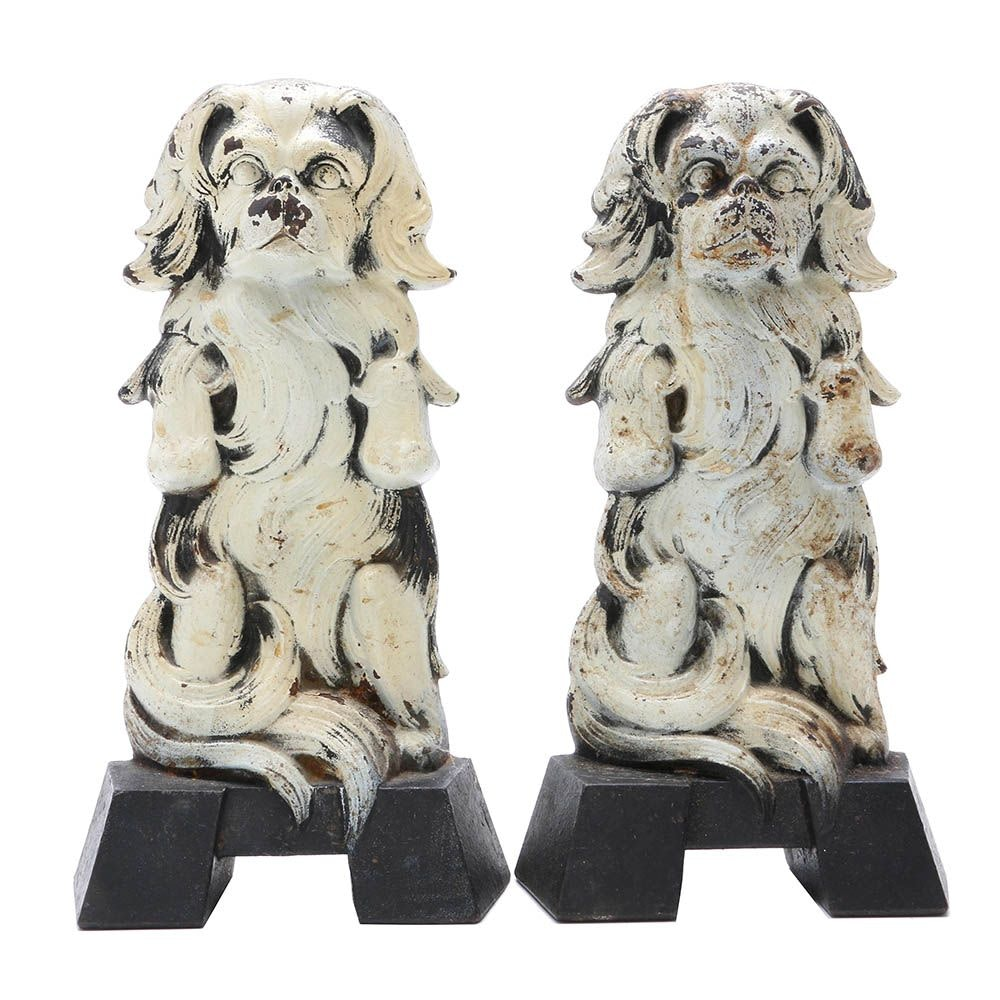Pair of Judd Company Cast-Iron Japanese Spaniel Doorstops