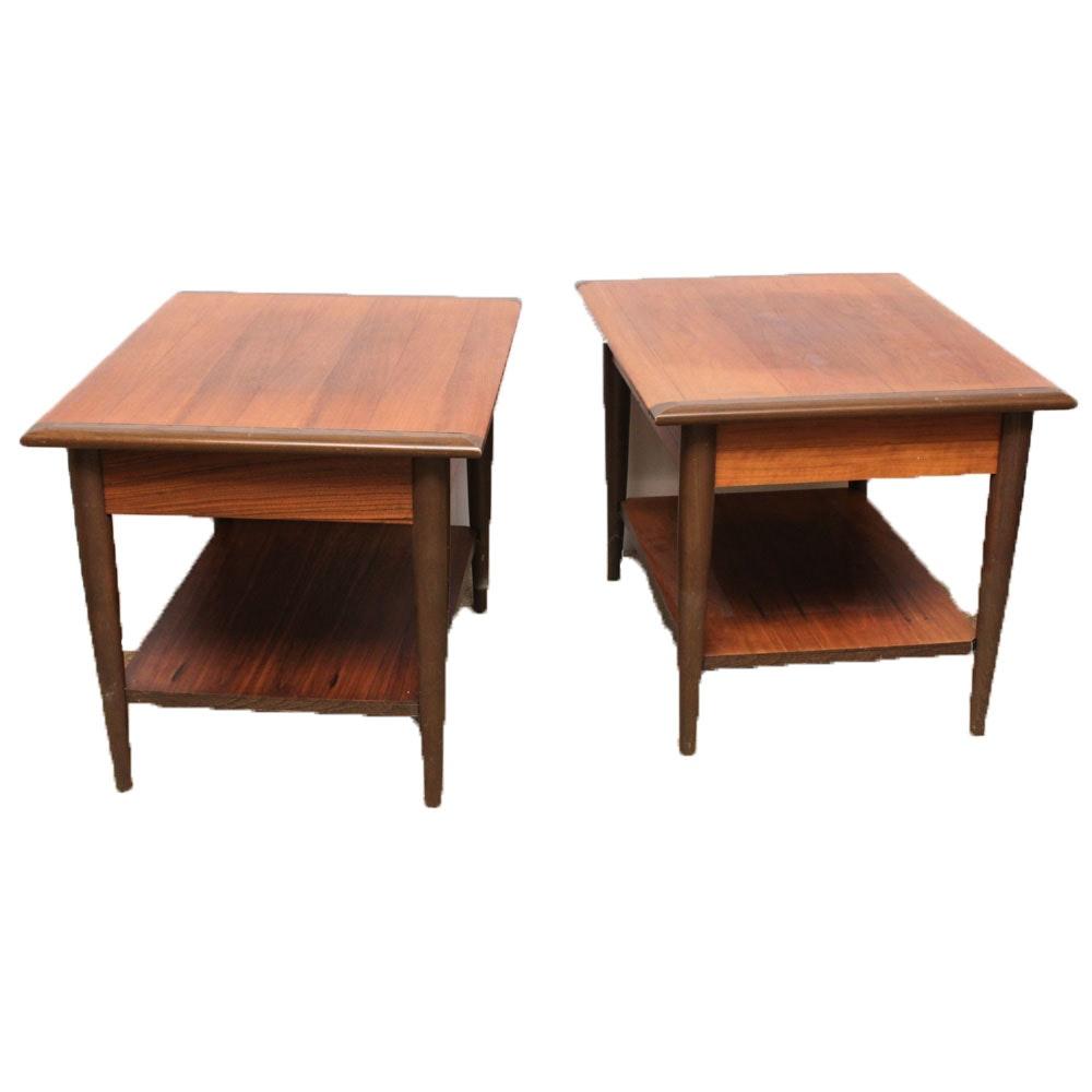 Mid Century Modern Hardwood Veneer Side Tables