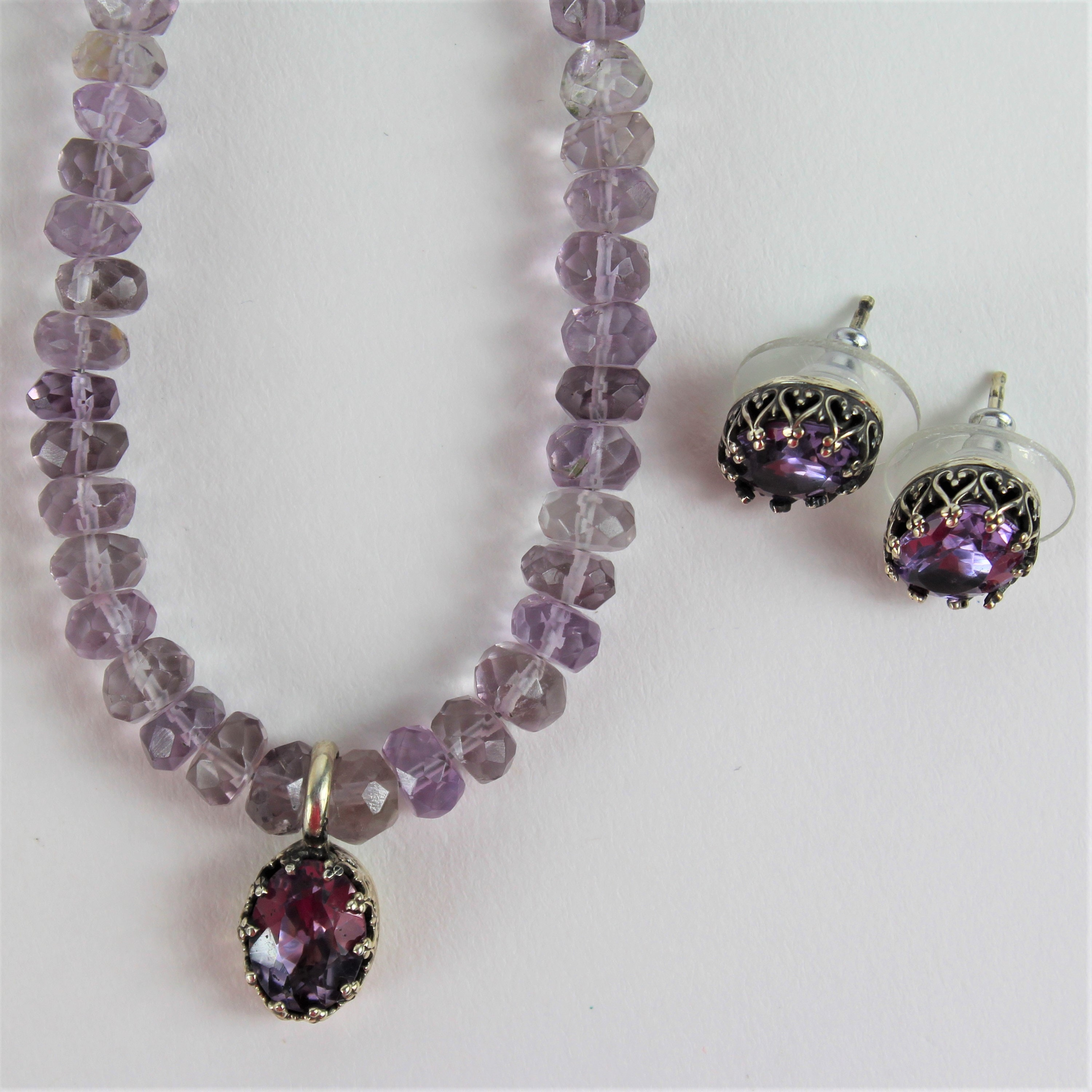 Artist Created Lavender Cubic Zirconia Sterling Silver Necklace & Earrings
