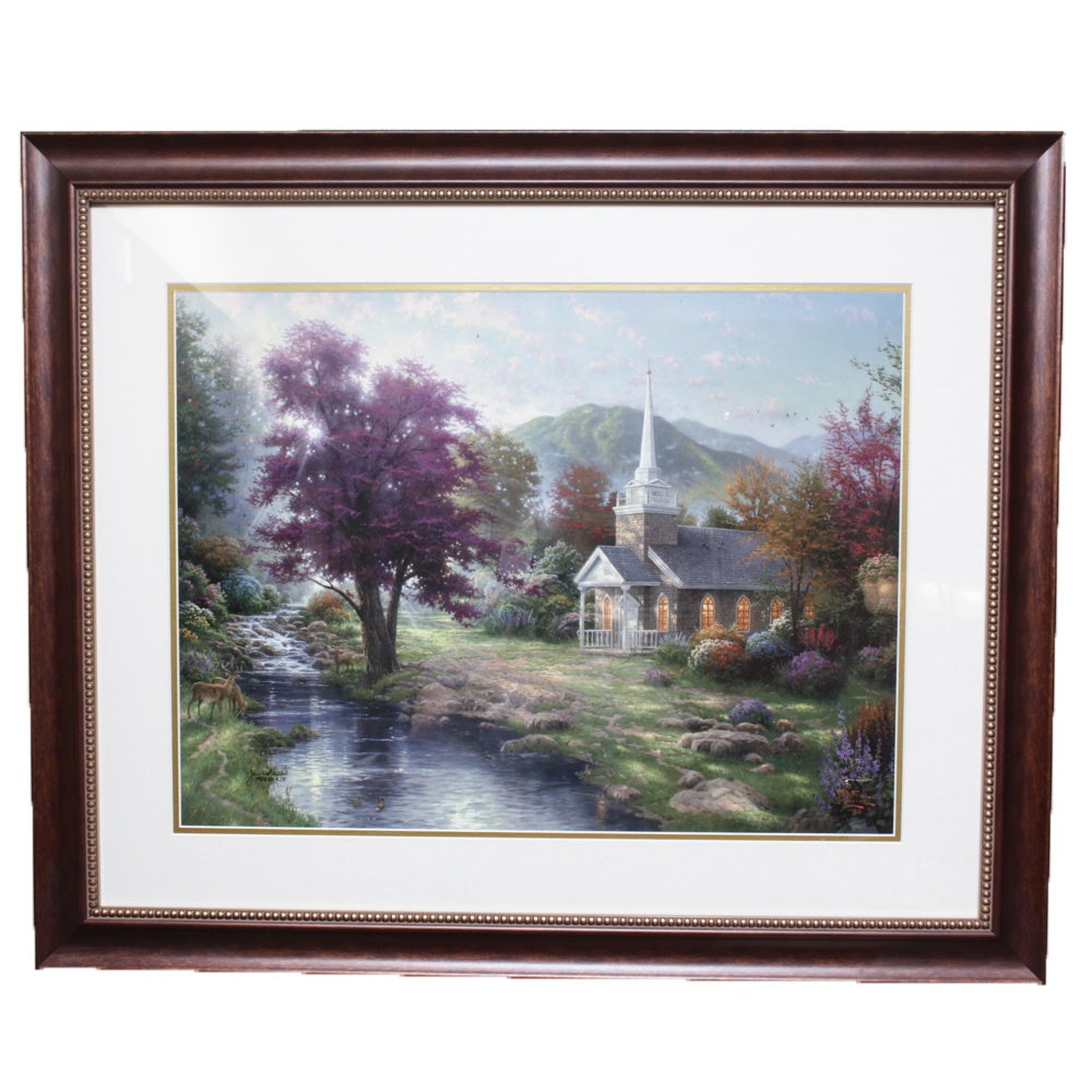 "Thomas Kinkade ""Streams of Living"" Offset Lithograph"