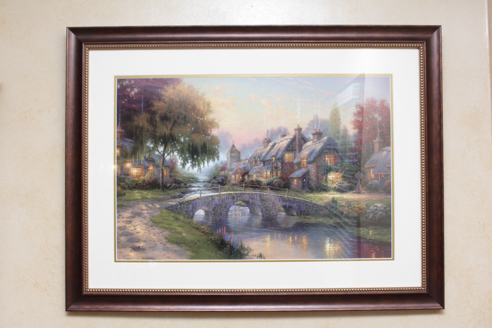 "Thomas Kinkade ""Cobblestone Bridge"" Offset Lithograph"