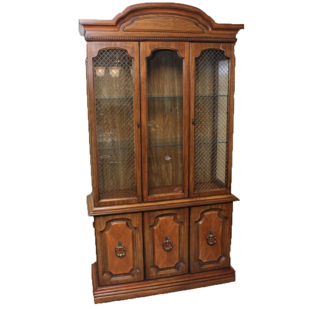 Vintage Oak Veneer China Cabinet