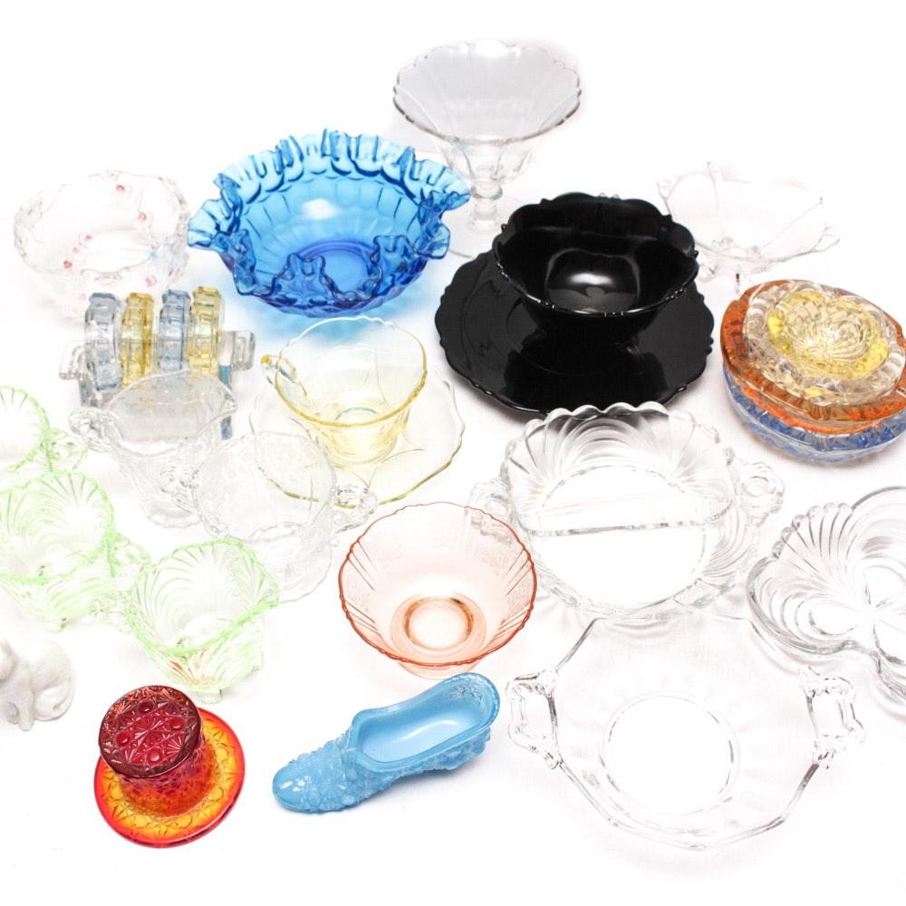 "Vintage Cambridge ""Swirl"" and Depression Glass Tableware"