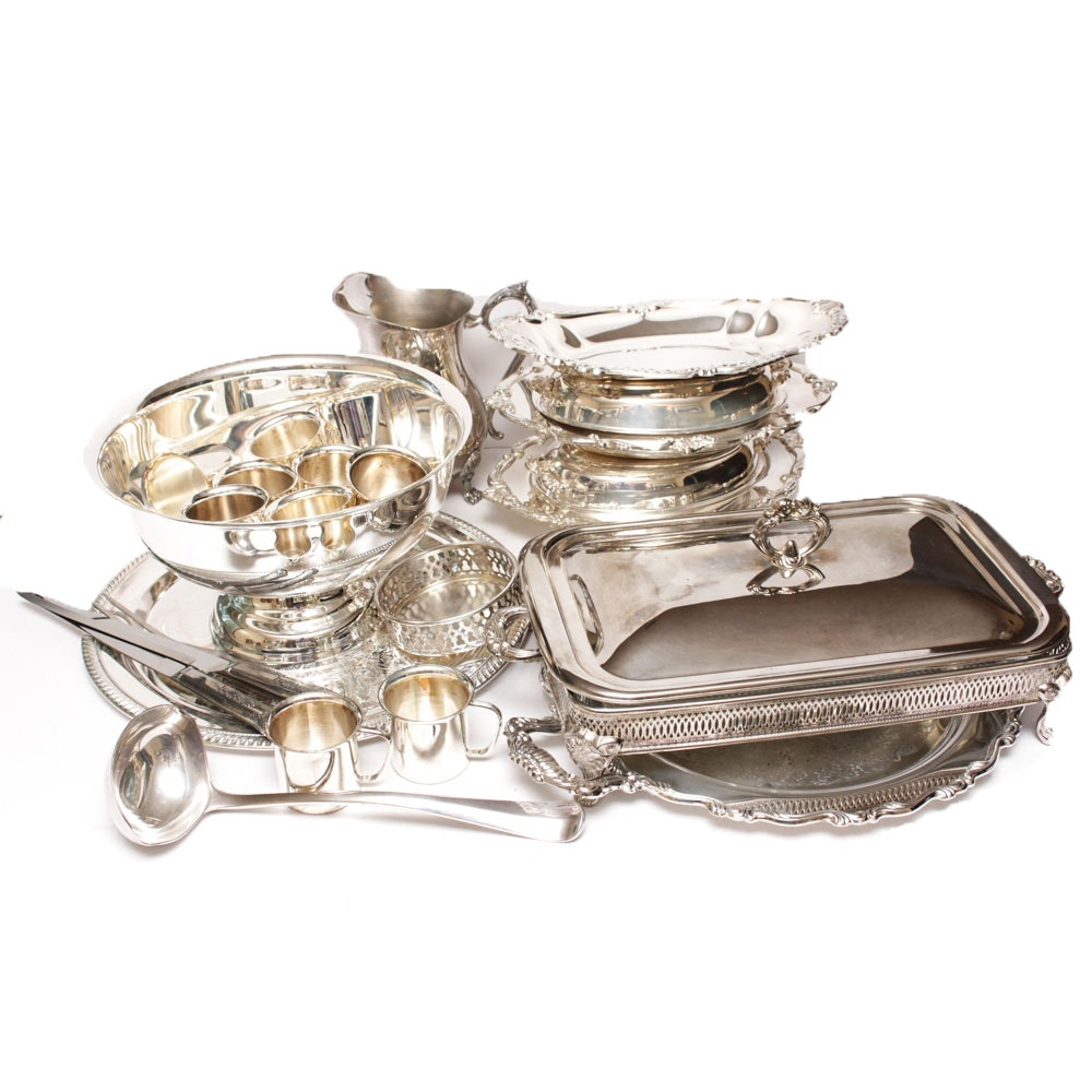 Vintage Silver Plated Punch Bowl and Assorted Serveware Including International