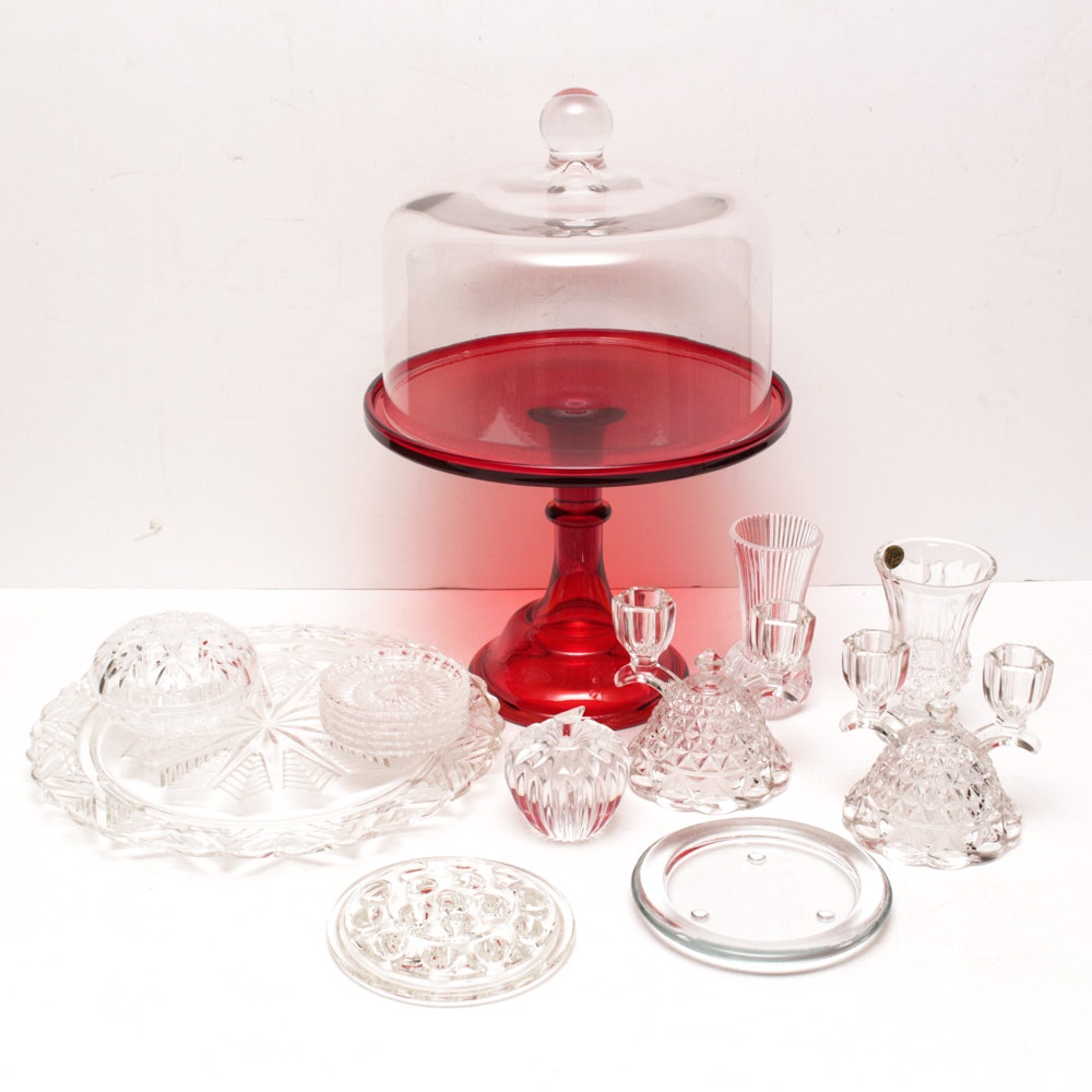 Waterford Crystal Apple Paperweight and Assorted Glass and Crystal Tableware