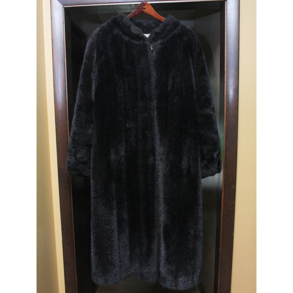 Vintage Full-Length Faux Fur Coat