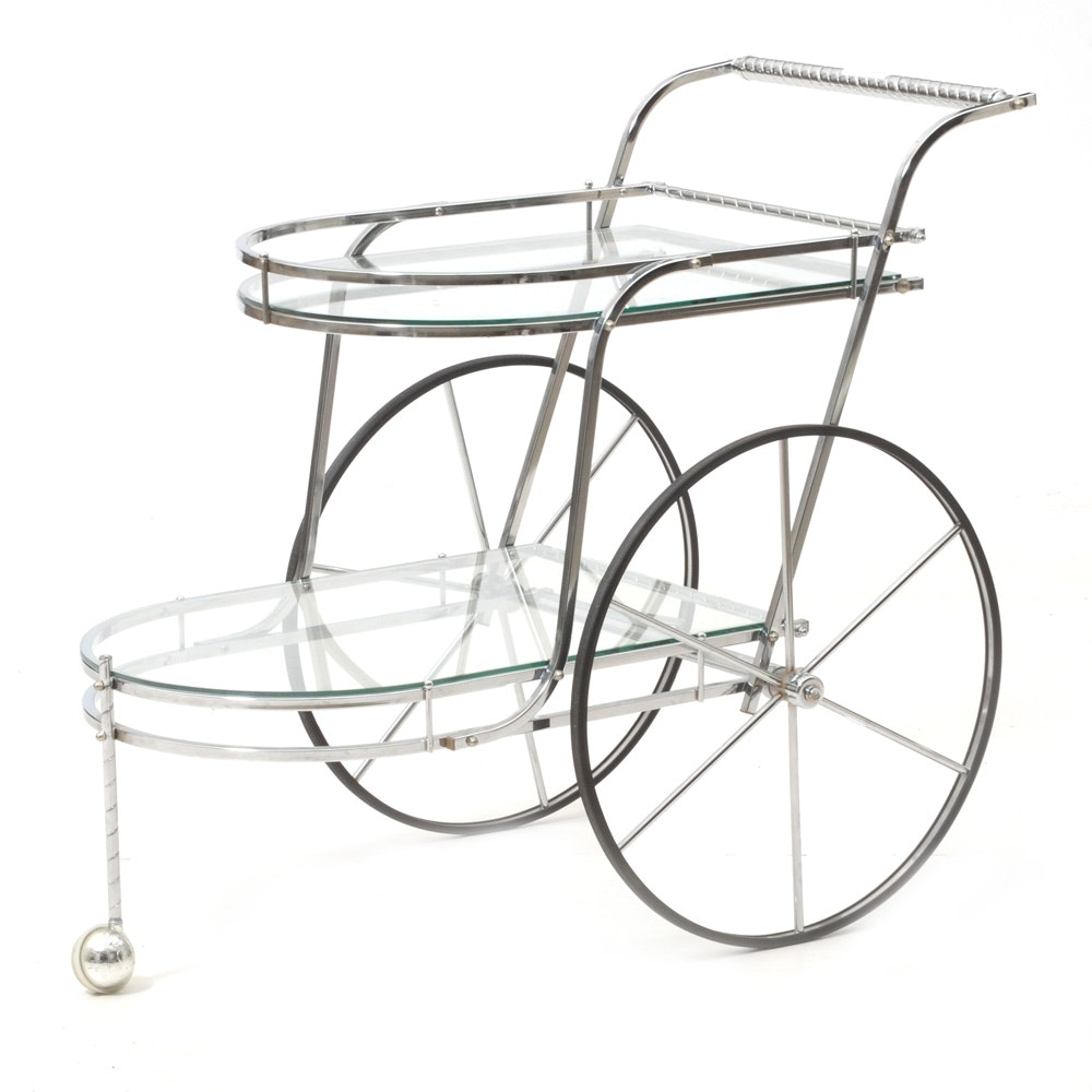 Vintage Chrome and Glass Big-Wheeled Serving Cart