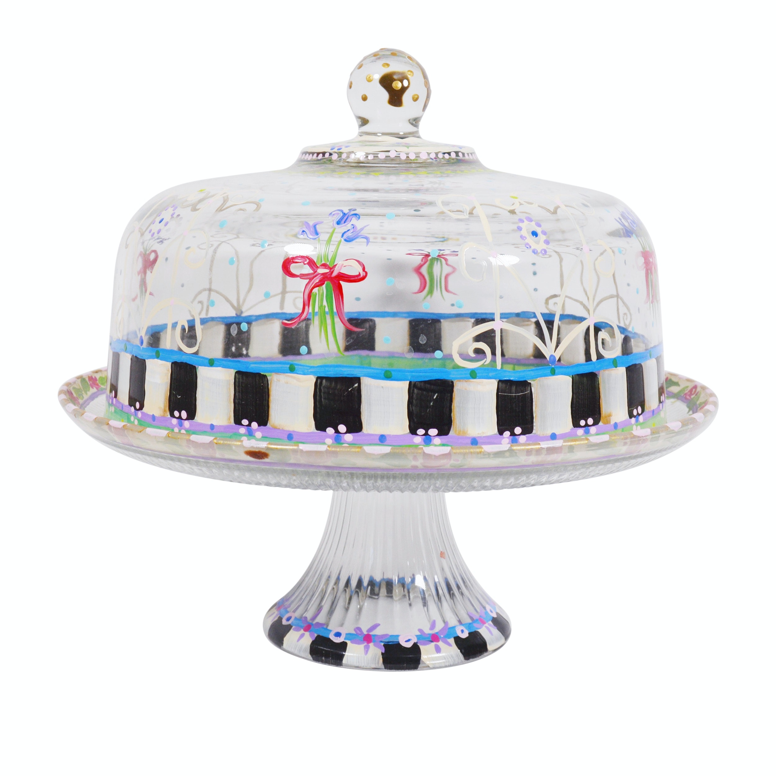 Hand Painted Glass Cake Plate and Dome ...  sc 1 st  EBTH.com & Hand Painted Glass Cake Plate and Dome : EBTH