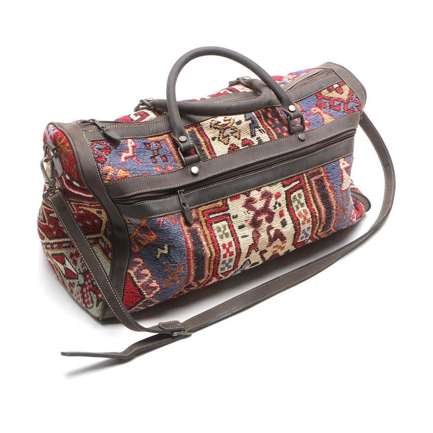 Handwoven Kilim Tapestry Duffel Bag   EBTH a91889e2cfaab