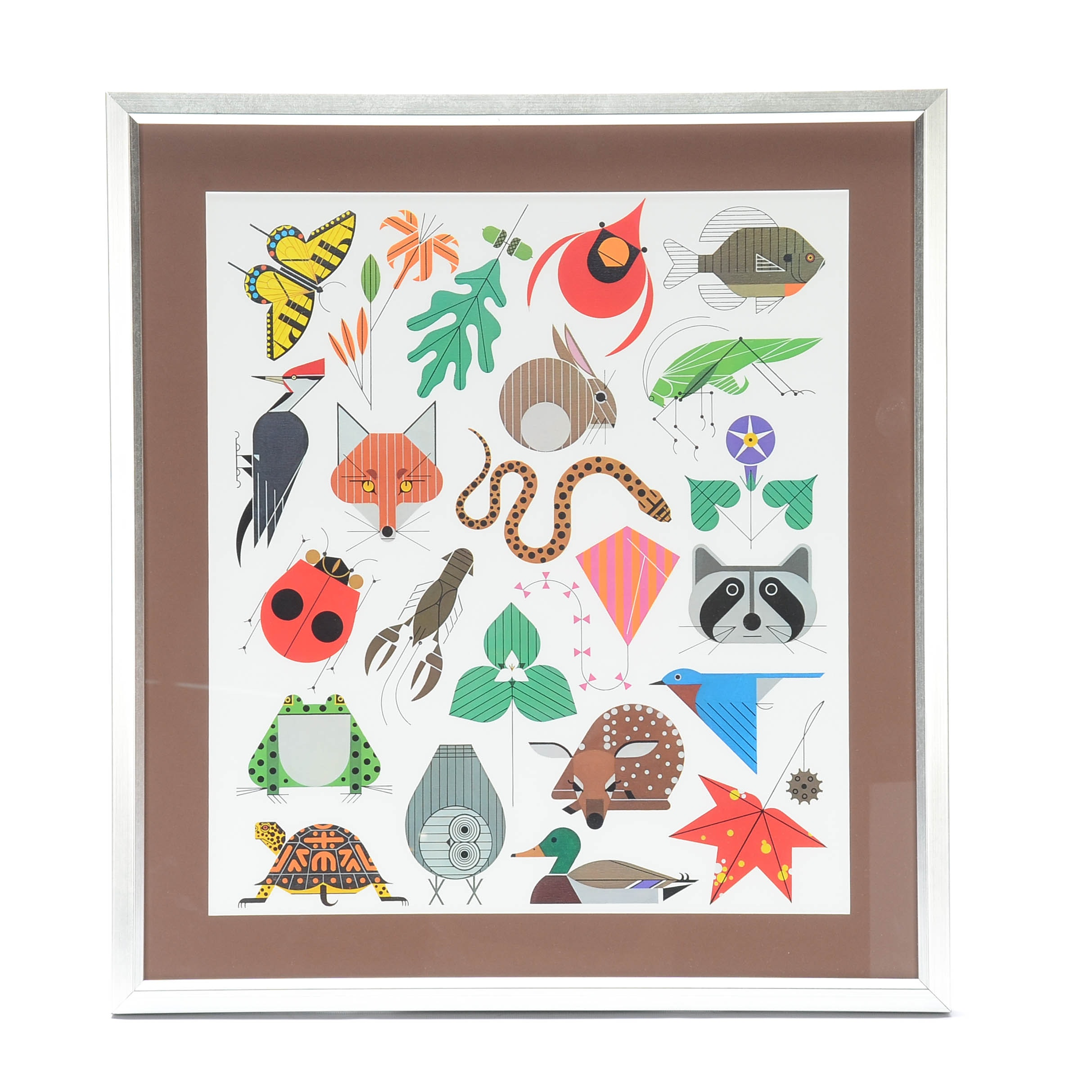 """Offset Lithograph after Charley Harper Poster """"Space for All Species"""""""