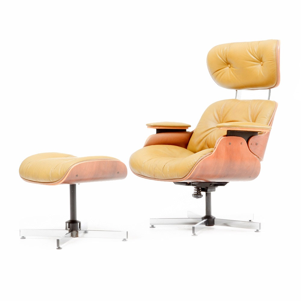 Vintage Eames Style Lounge Chair and Ottoman
