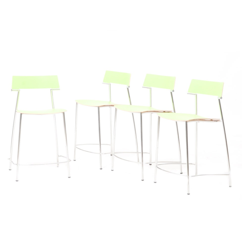 Four Laminated Lime Green and Chrome Bar Stools