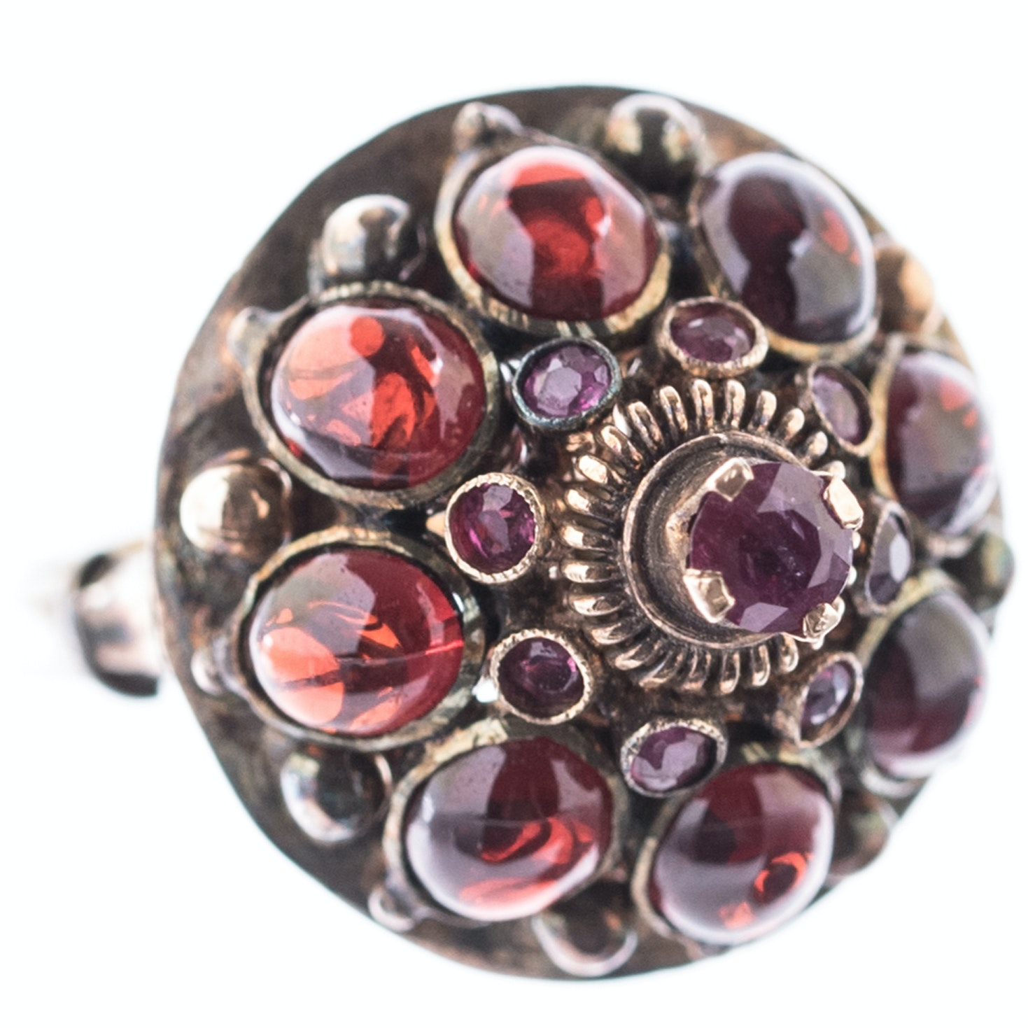 14K Yellow Gold, Ruby, and 3.60 CTW Garnet Dome Ring