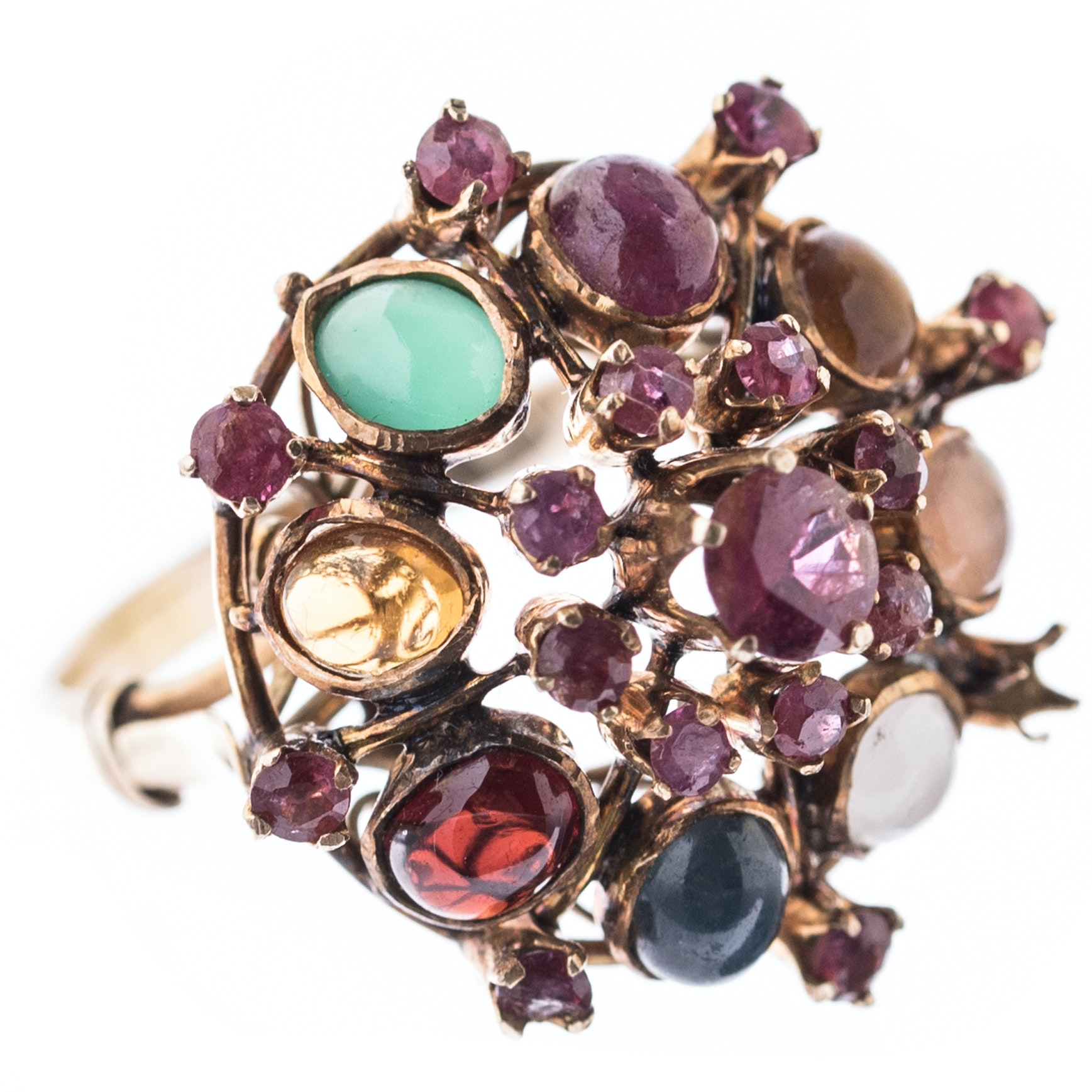 14K Yellow Gold and Multi-Gemstone Dome Ring