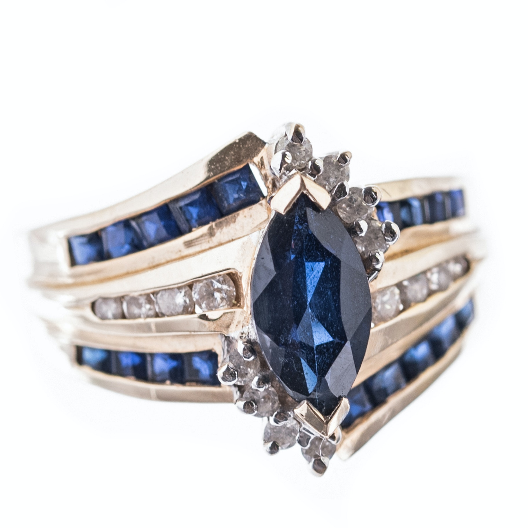 14K Yellow Gold, 2.33 CTW Sapphire, and Diamond Ring