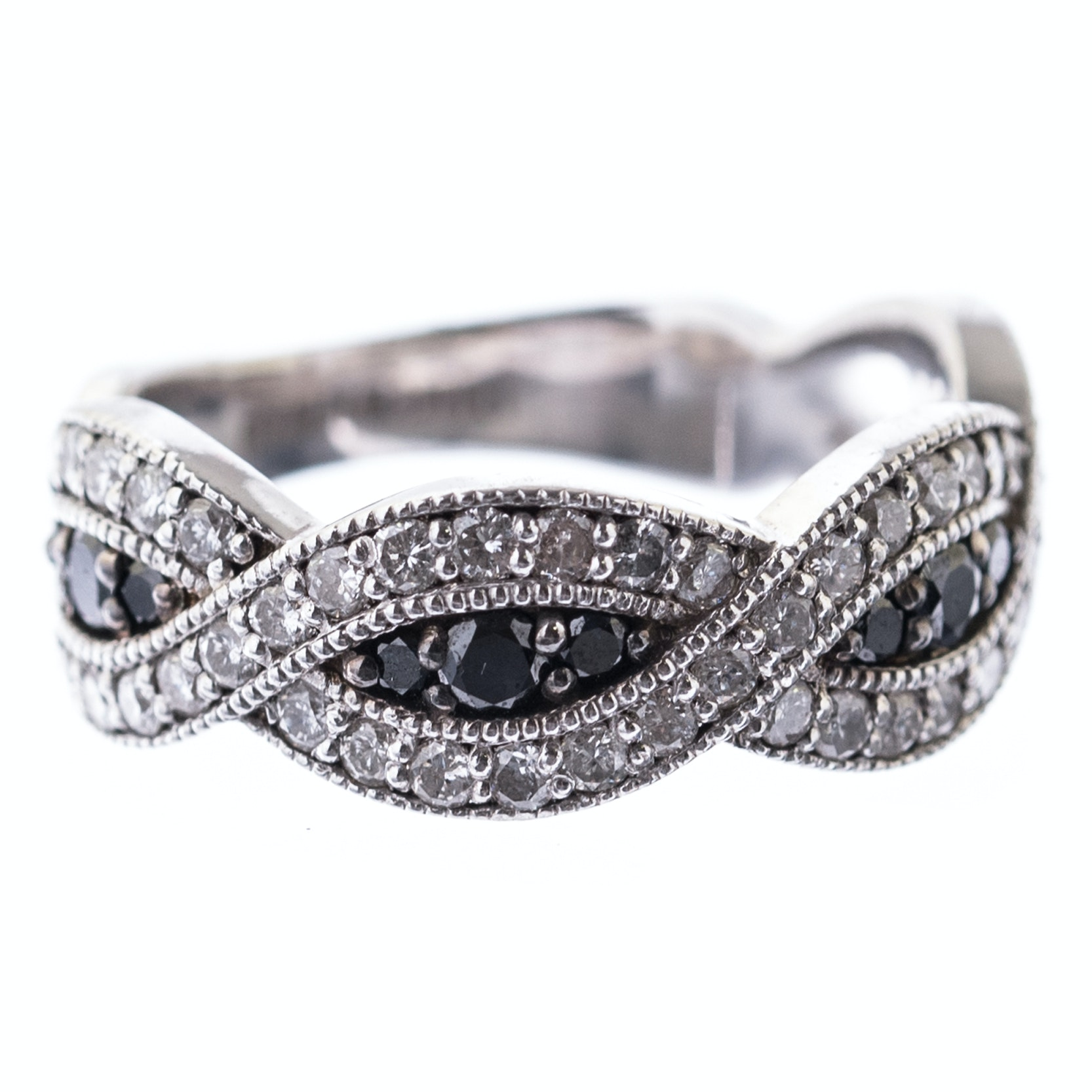 Sterling Silver, 1.05 CTW Diamond, and Black Diamond Crossover Ring