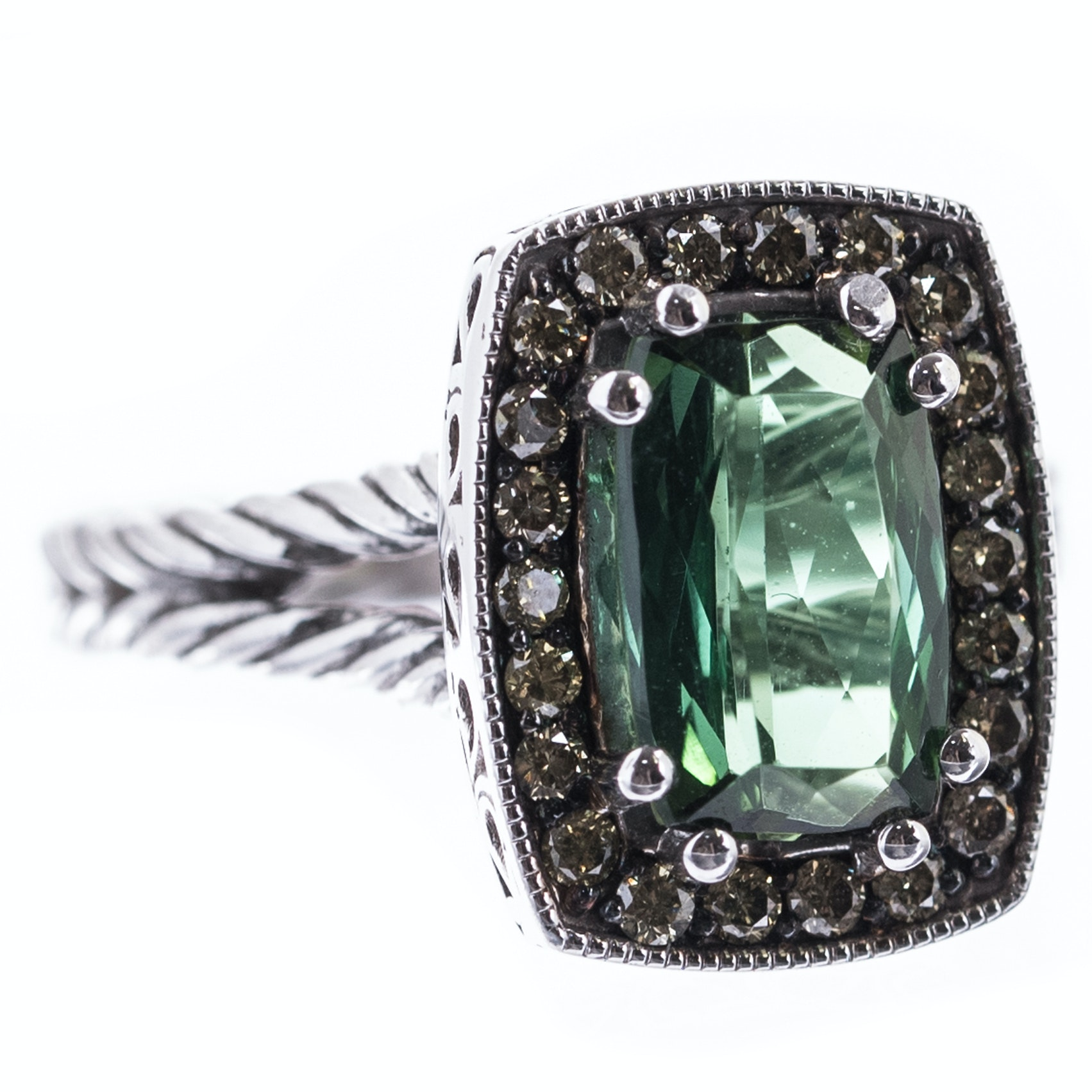 Sterling Silver, 1.92 CT Green Tourmaline, and Diamond Ring