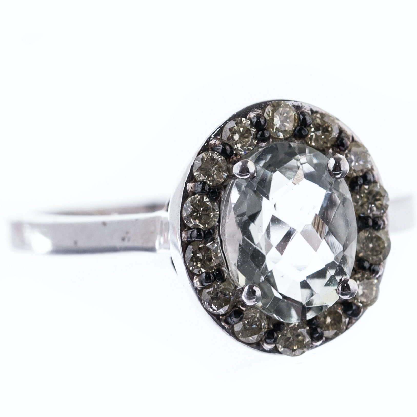 Sterling Silver, 1.20 CT Quartz, and Diamond Ring