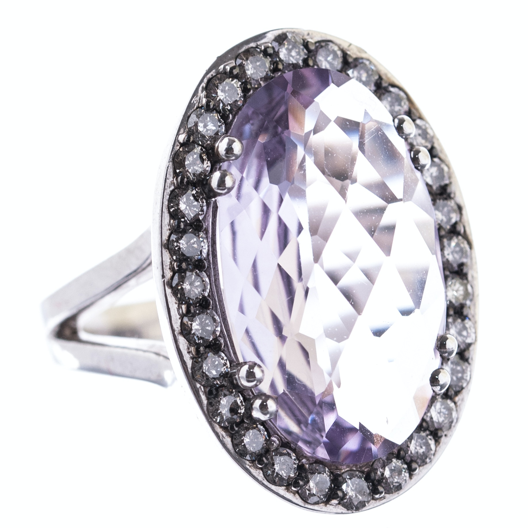 Sterling Silver, 8.00 CT Amethyst, and Diamond Halo Ring
