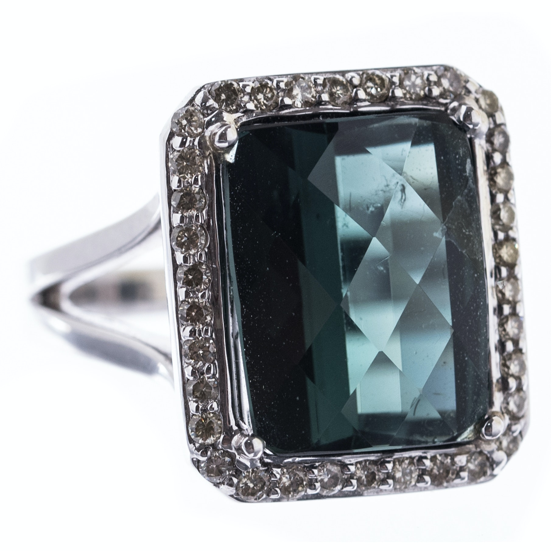 14K White Gold, 5.99 CT Tourmaline, and Diamond Halo Ring