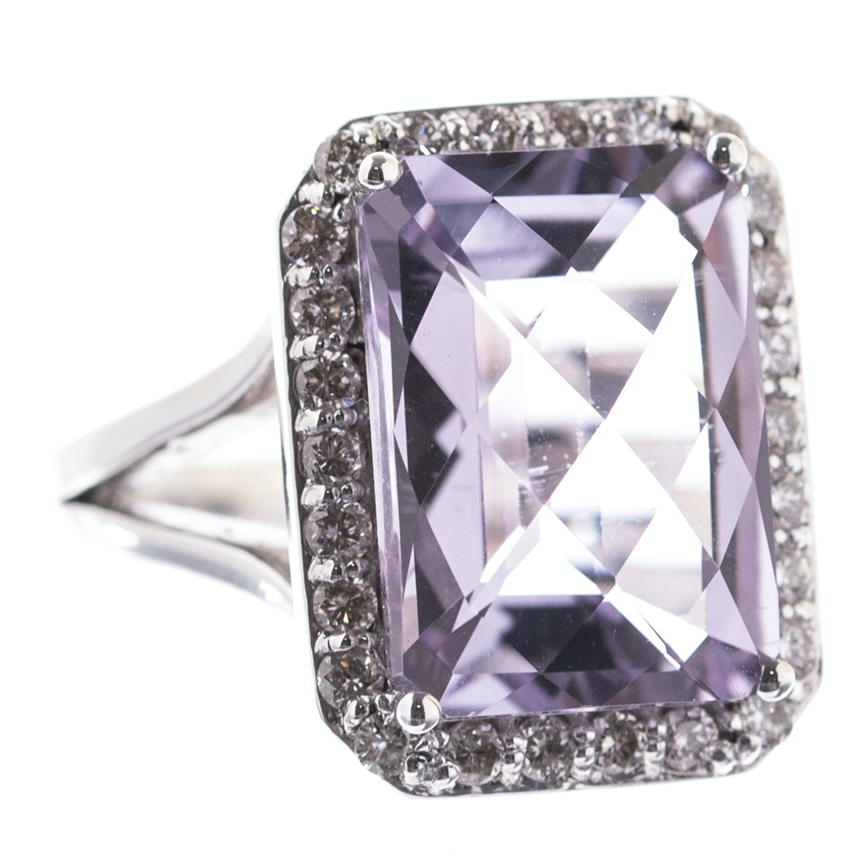 Sterling Silver, 6.90 CT Amethyst, and Diamond Ring