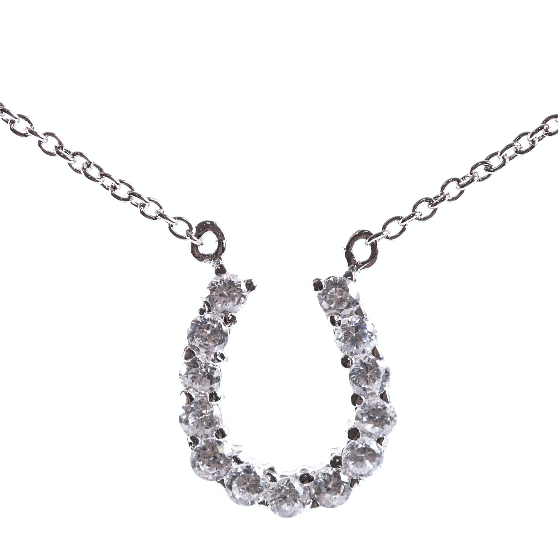 Sterling Silver and Cubic Zirconia Horseshoe Pendant Necklace