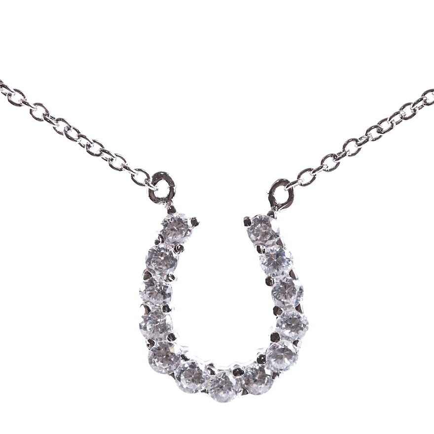 Sterling silver and cubic zirconia horseshoe pendant necklace ebth sterling silver and cubic zirconia horseshoe pendant necklace aloadofball Choice Image