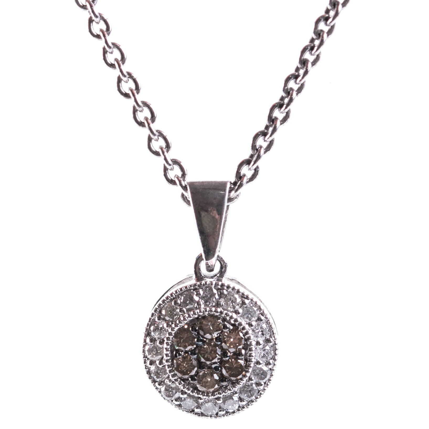 Sterling Silver, Diamond, and Brown Diamond Circle Pendant Necklace