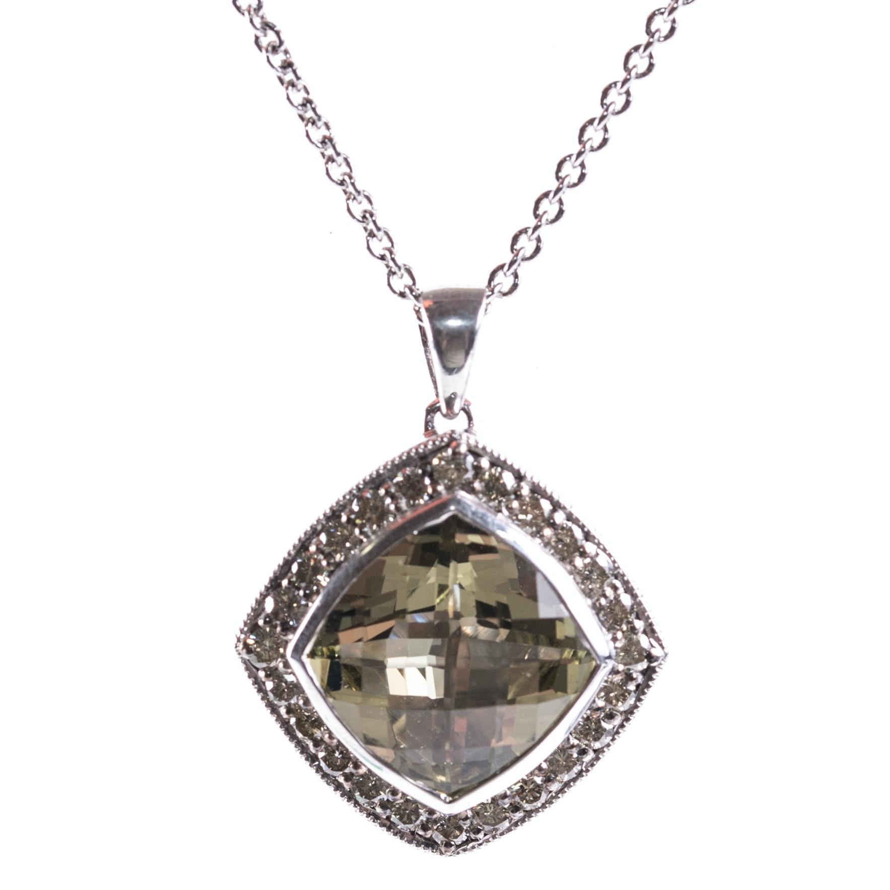 Sterling Silver, 4.06 CT Lemon Quartz, and Diamond Halo Pendant Necklace