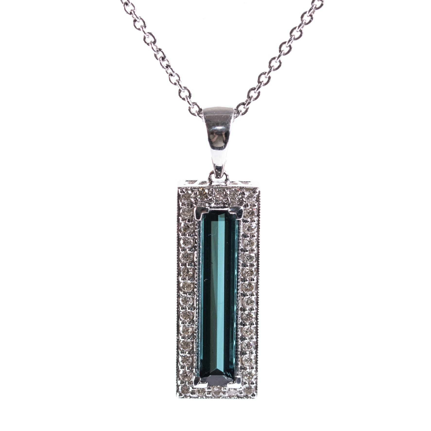 14K White Gold, 2.97 CT Tourmaline, and Diamond Pendant On Sterling Silver Chain