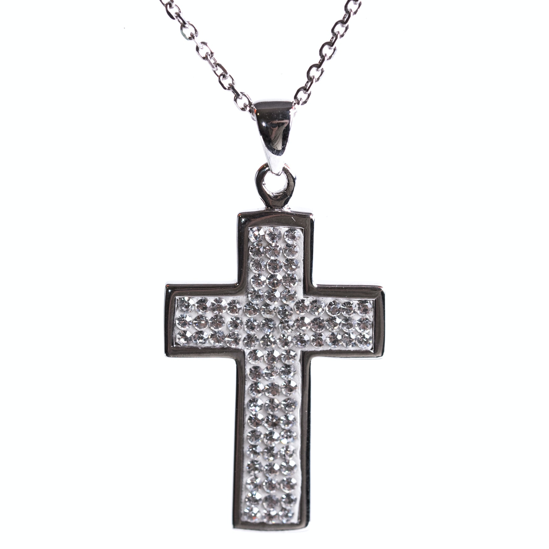 Sterling Silver and Cubic Zirconia Cross Pendant Necklace