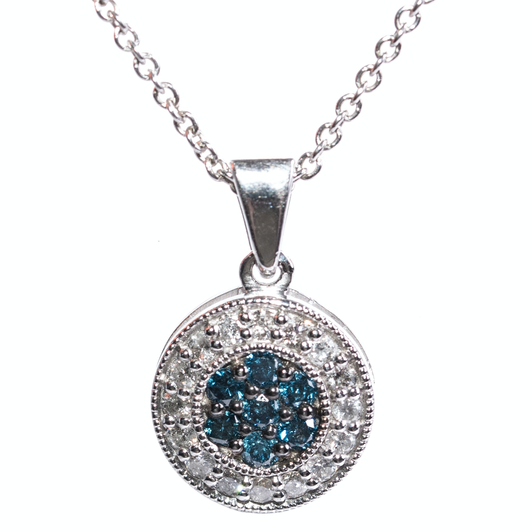 Sterling Silver, Blue Diamond, and Diamond Circle Pendant Necklace