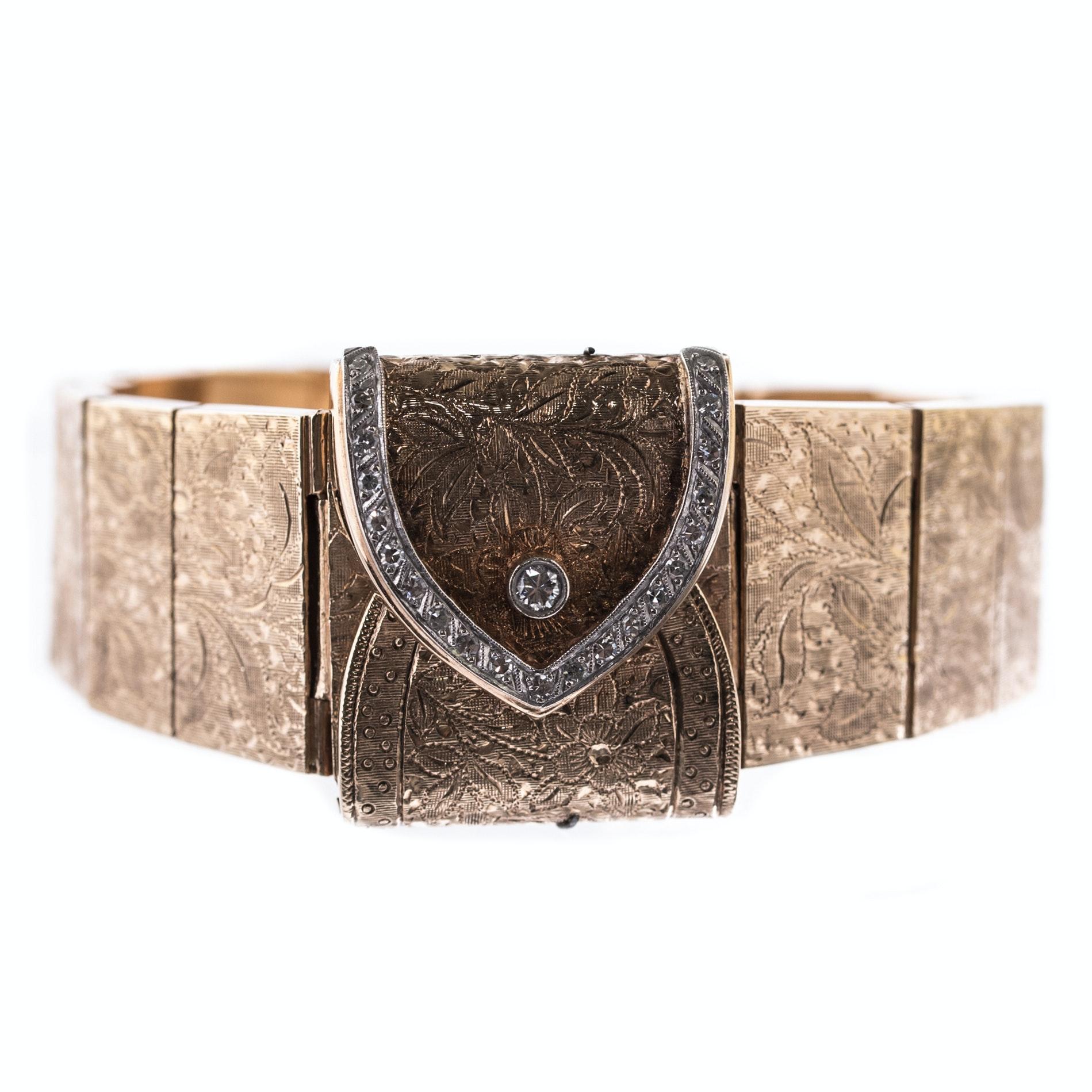 Vintage 14K Yellow Gold and Diamond Bracelet Wristwatch