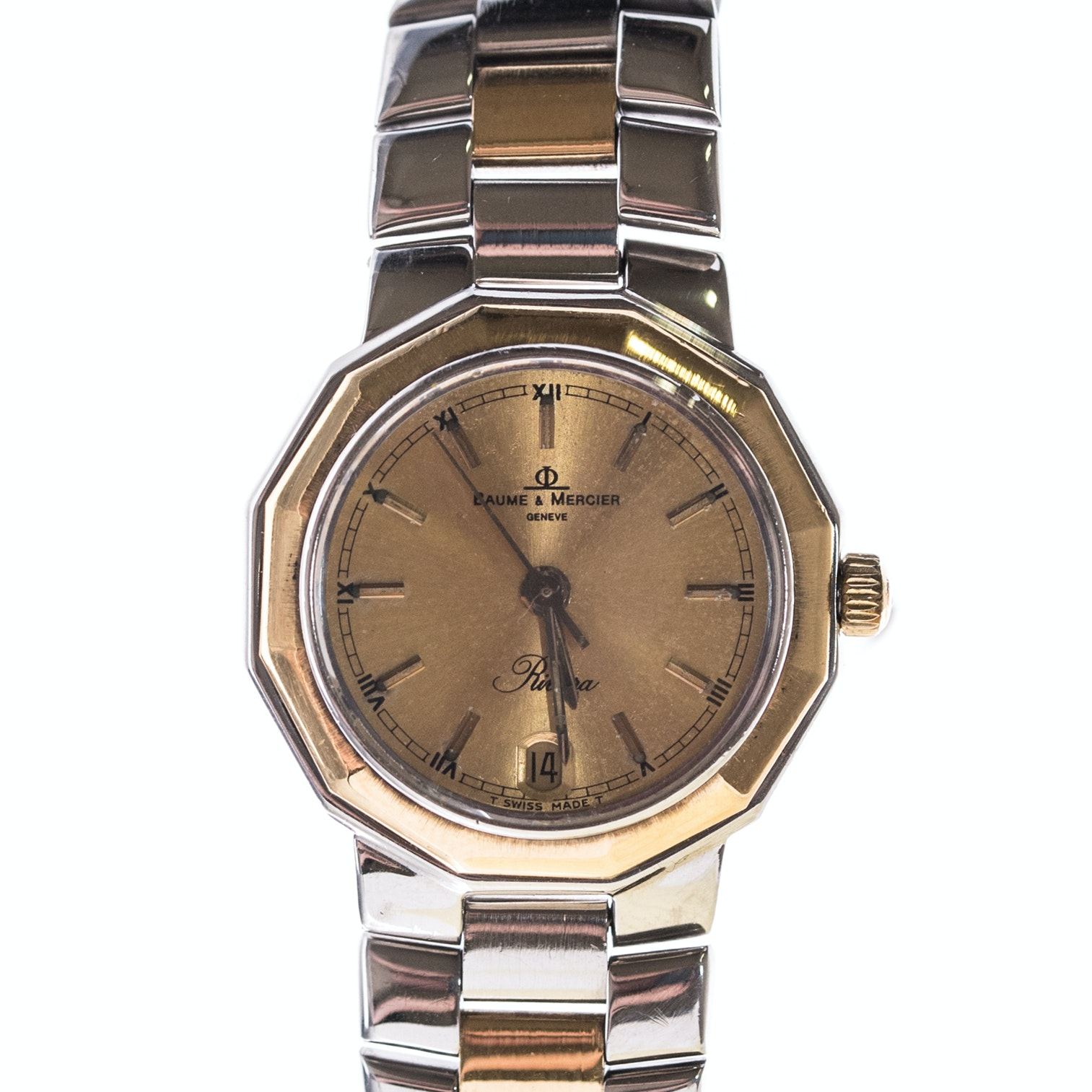 Baume & Mercier Riviera 18K Yellow Gold and Stainless Steel Wristwatch