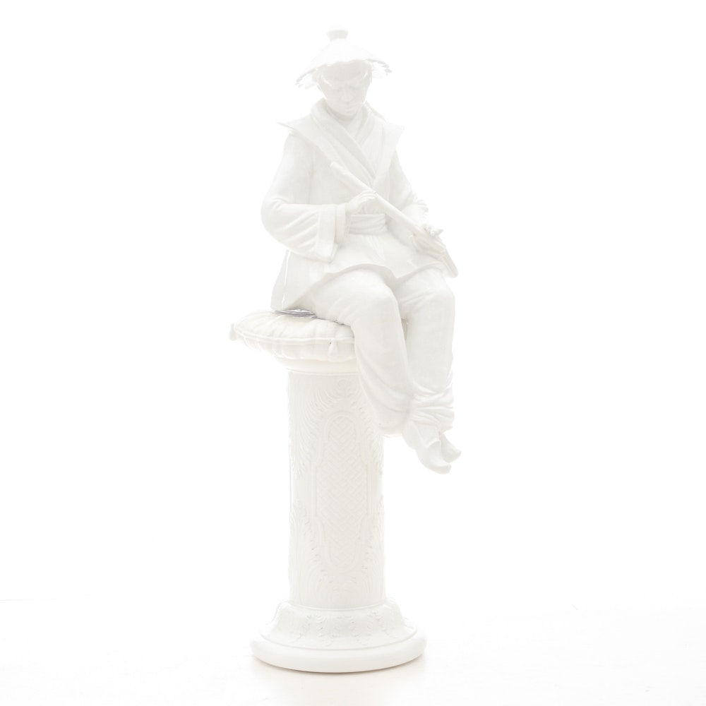 Chinese Inspired Ceramic Male Figure and Pedestal