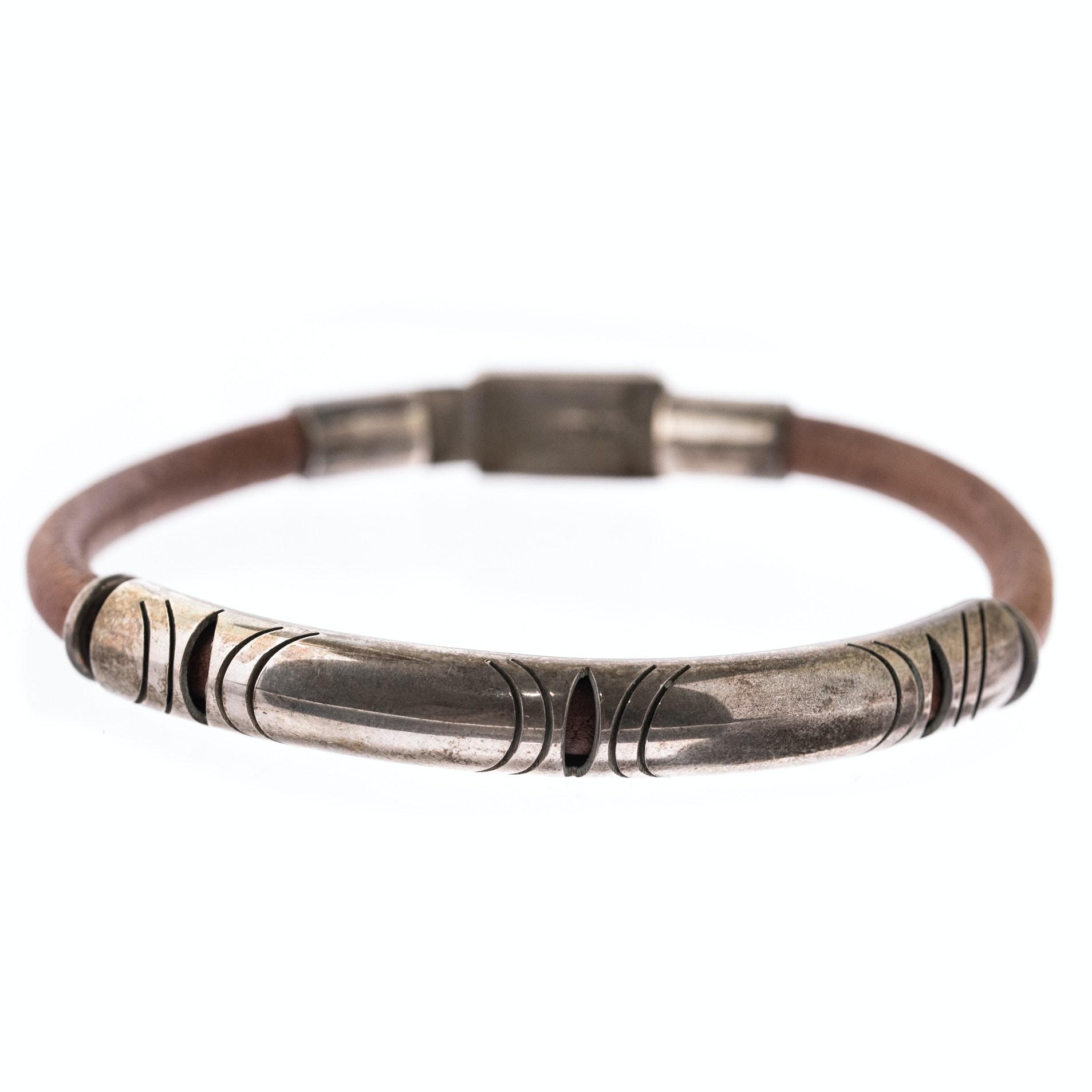 Sterling Silver and Caramel Color Leather Bracelet