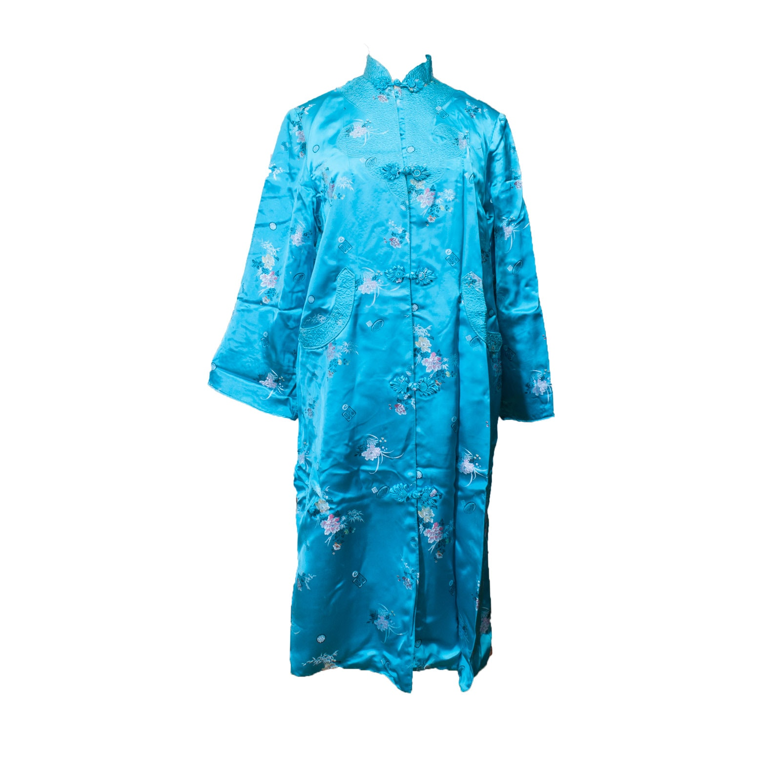Vintage Chinese Blue Brocade Satin Robe